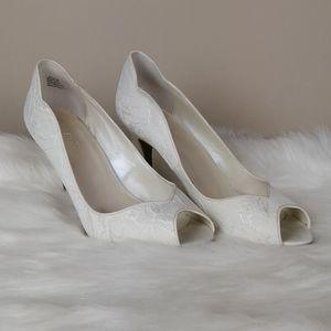 David's Bridal Layla white lace peep toe heels